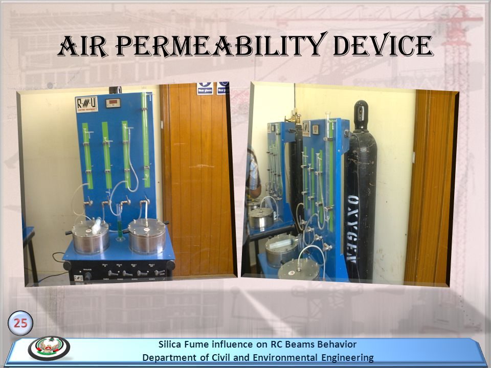 Air permeability device Silica Fume influence on RC Beams Behavior Department of Civil and Environmental Engineering
