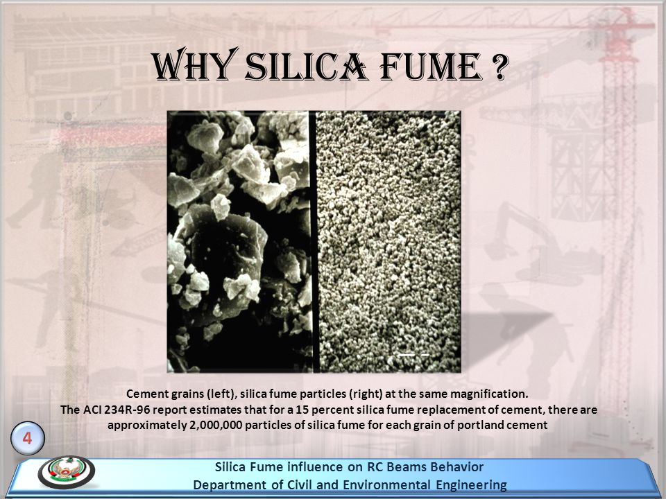 Cement grains (left), silica fume particles (right) at the same magnification. The ACI 234R-96 report estimates that for a 15 percent silica fume repl
