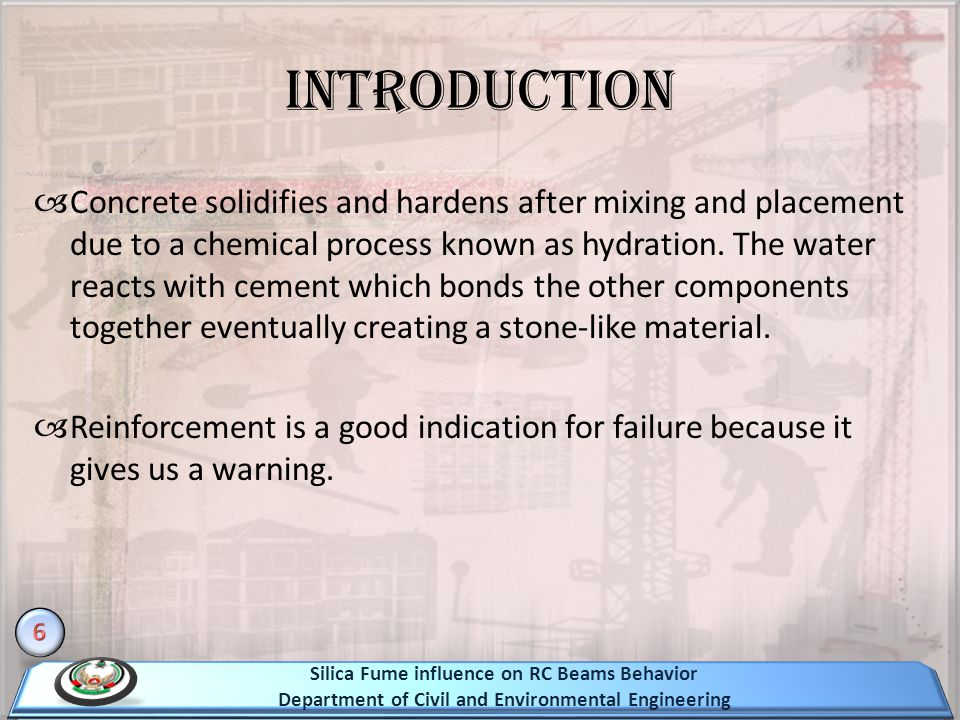 Introduction Concrete solidifies and hardens after mixing and placement due to a chemical process known as hydration.