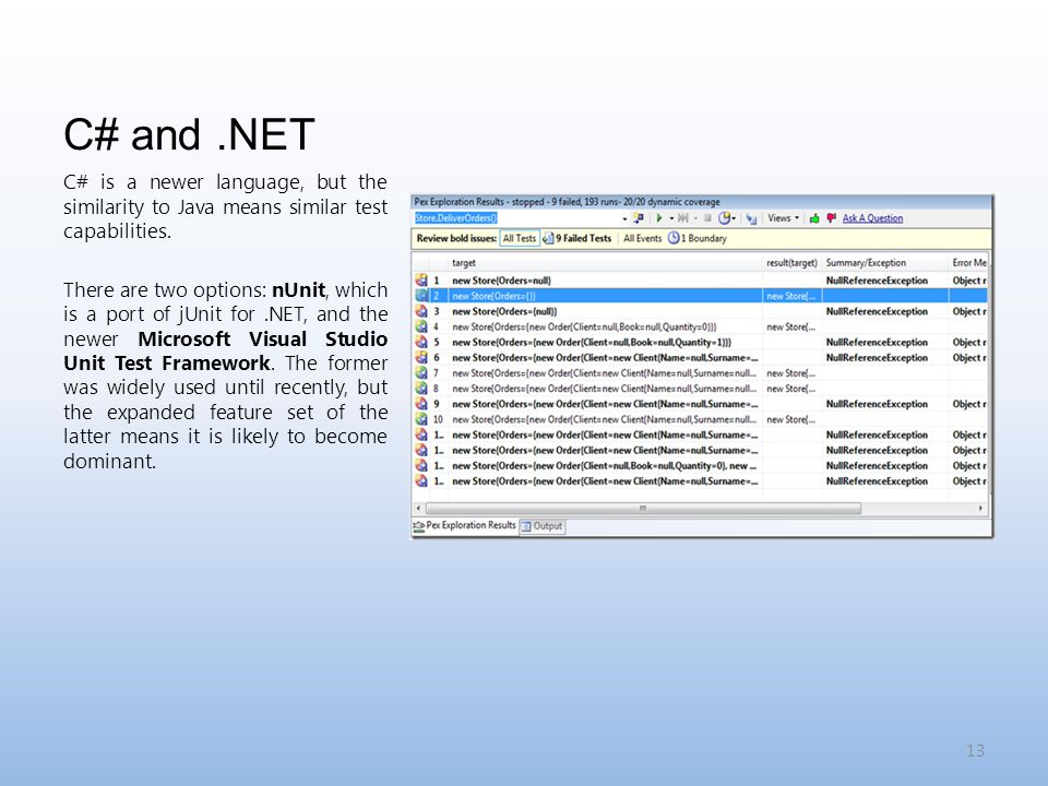C# and.NET C# is a newer language, but the similarity to Java means similar test capabilities.