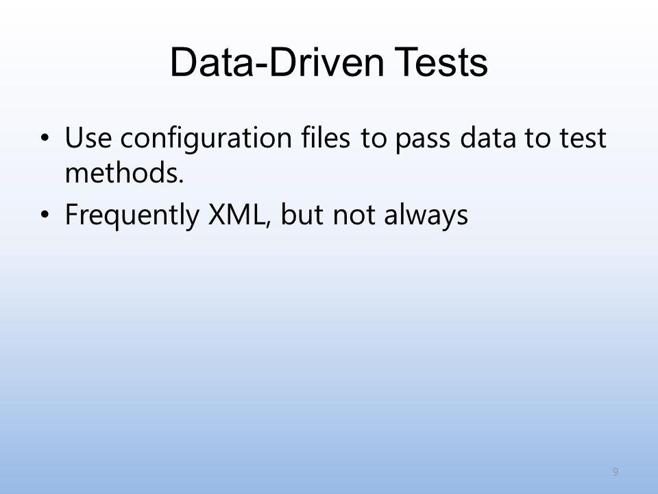 Bad Ideas Test-driven development Opt-in testing (devs will not remember) 20