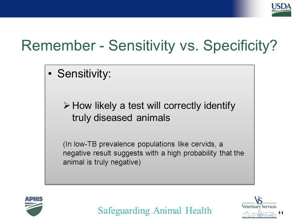 Safeguarding Animal Health Remember - Sensitivity vs.