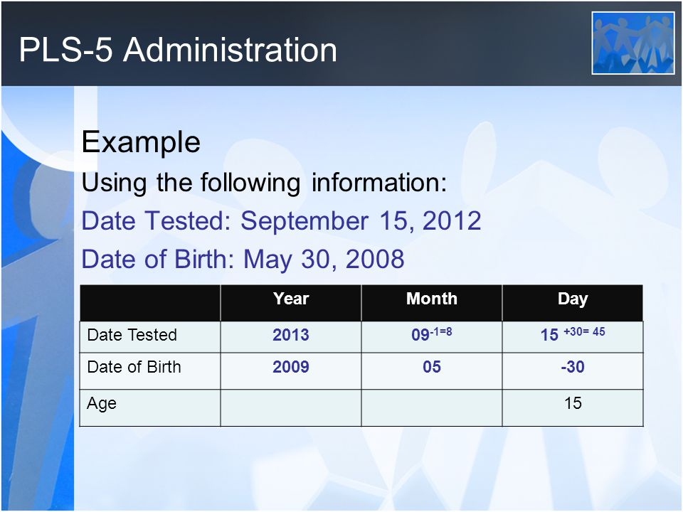PLS-5 Administration Example Using the following information: Date Tested: September 15, 2012 Date of Birth: May 30, 2008 YearMonthDay Date Tested2013