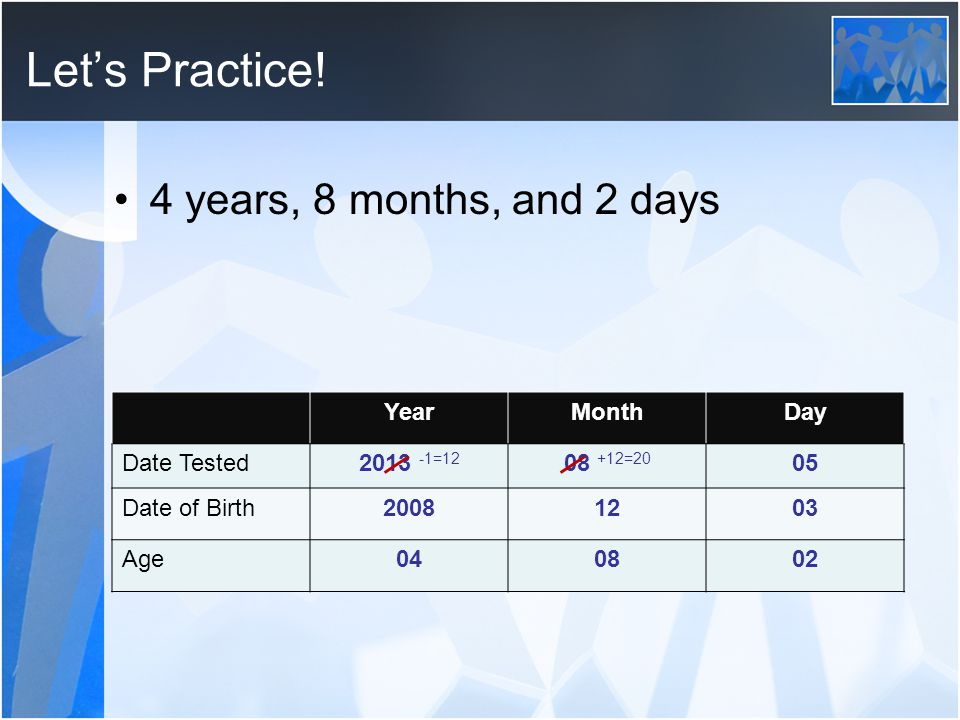 Lets Practice! 4 years, 8 months, and 2 days YearMonthDay Date Tested2013 -1=12 08 +12=20 05 Date of Birth20081203 Age040802