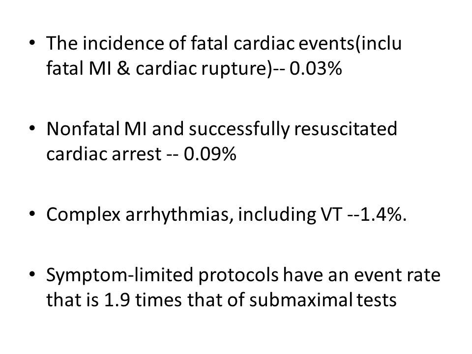 The incidence of fatal cardiac events(inclu fatal MI & cardiac rupture)-- 0.03% Nonfatal MI and successfully resuscitated cardiac arrest -- 0.09% Comp