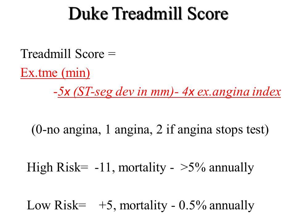 Duke Treadmill Score Treadmill Score = Ex.tme (min) -5 х (ST-seg dev in mm)- 4 х ex.angina index (0-no angina, 1 angina, 2 if angina stops test) High
