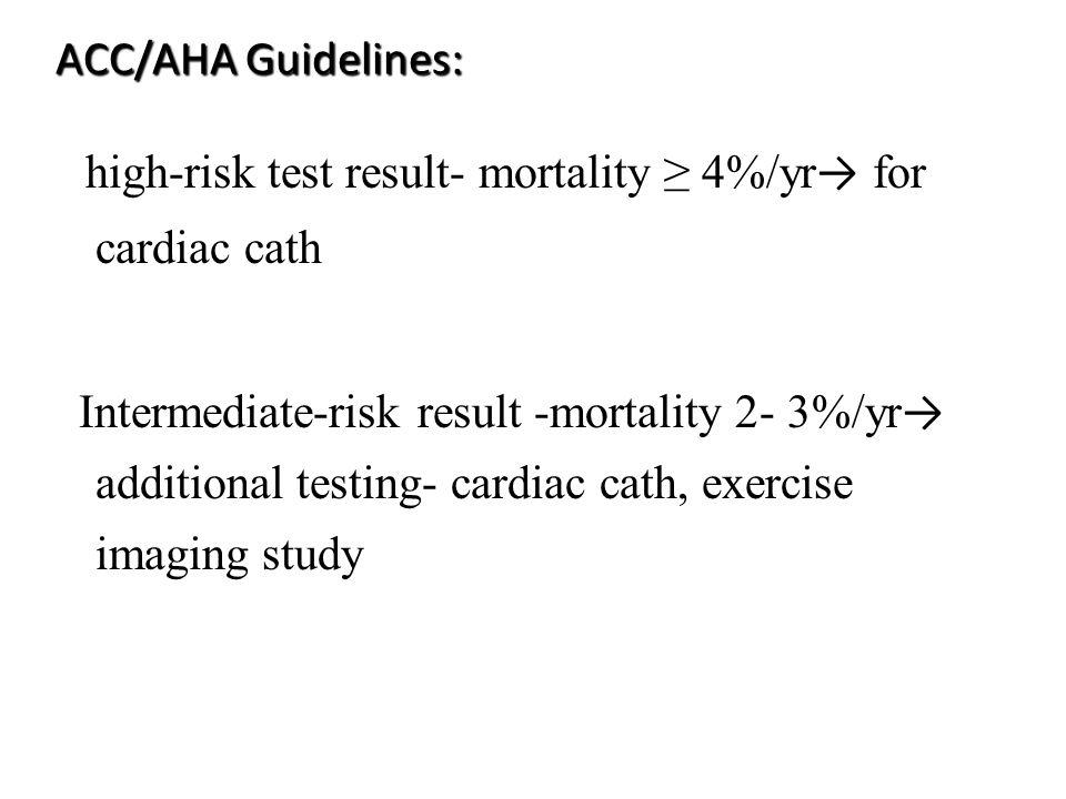 ACC/AHA Guidelines: high-risk test result- mortality 4%/yr for cardiac cath Intermediate-risk result -mortality 2- 3%/yr additional testing- cardiac c