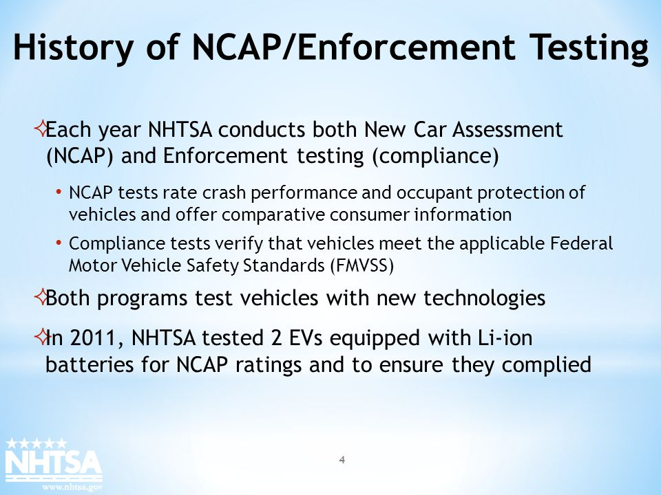 Each year NHTSA conducts both New Car Assessment (NCAP) and Enforcement testing (compliance) NCAP tests rate crash performance and occupant protection