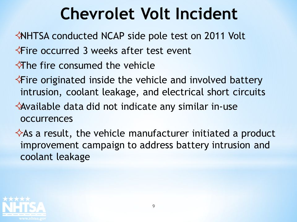 Vehicle manufacturers provided NHTSA data about post incident protocols However, limitations were noted in the data regarding: Battery discharge protocols Post crash vehicle handling/storage Addressing post crash fire protocols Tools for evaluating post incident battery health Manufacturer Data on EVs 10