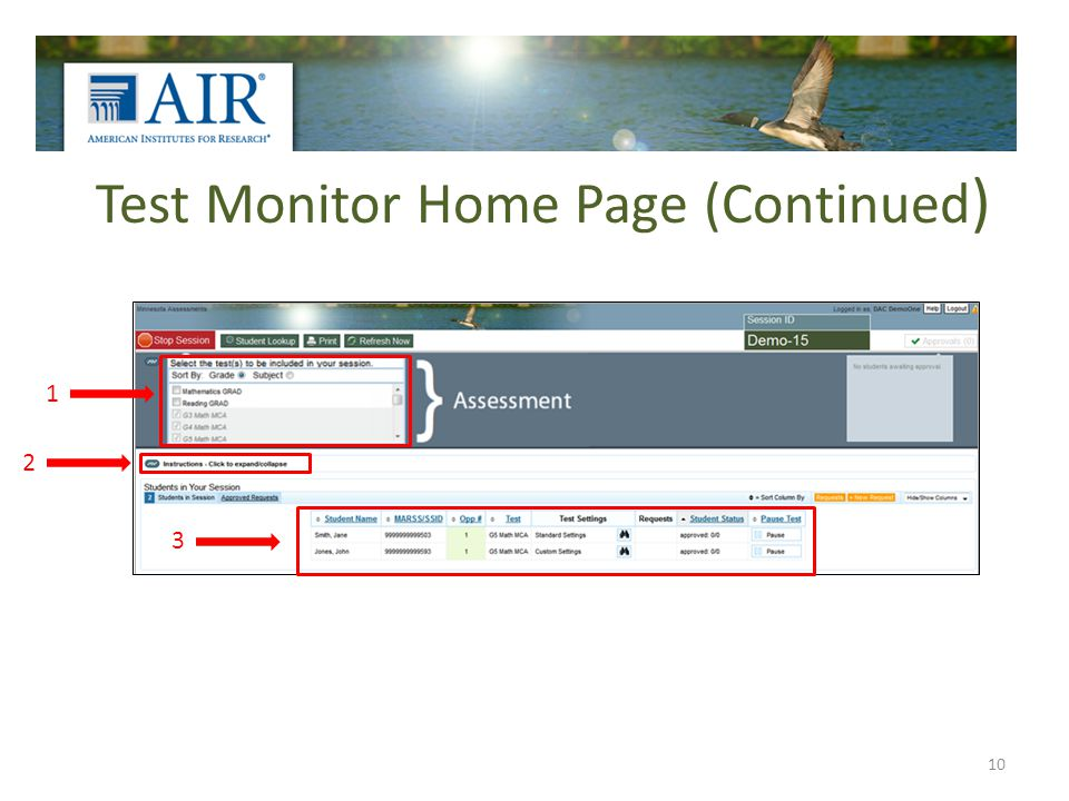 Test Monitor Home Page (Continued ) 10 1 2 3