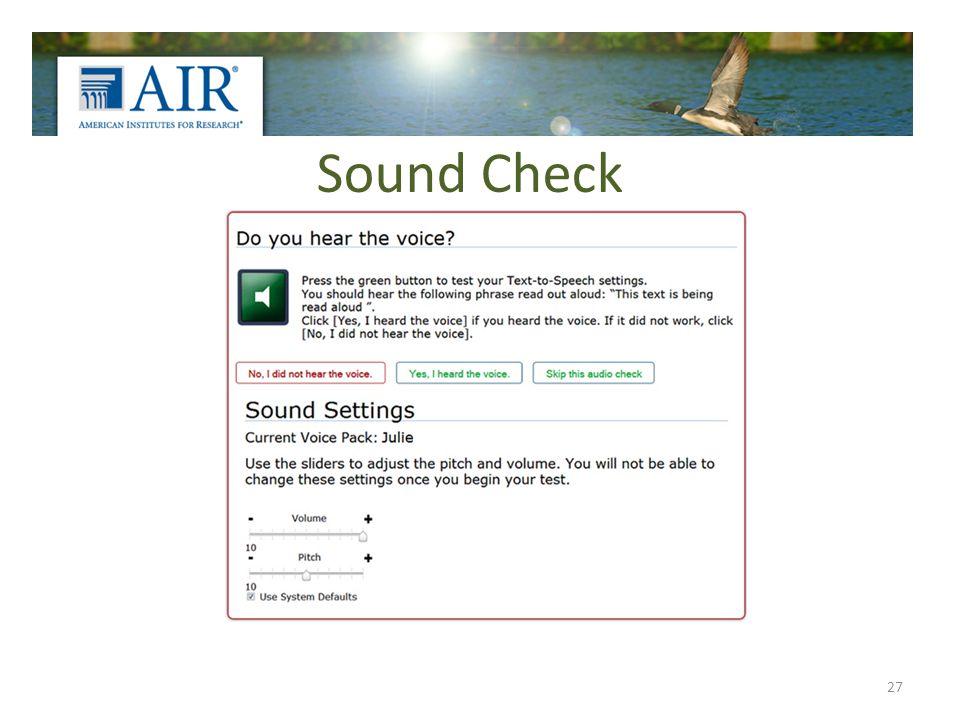 Sound Check 27