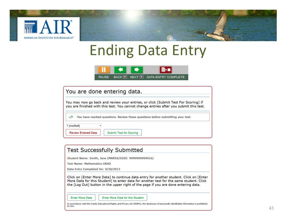 Ending Data Entry 43