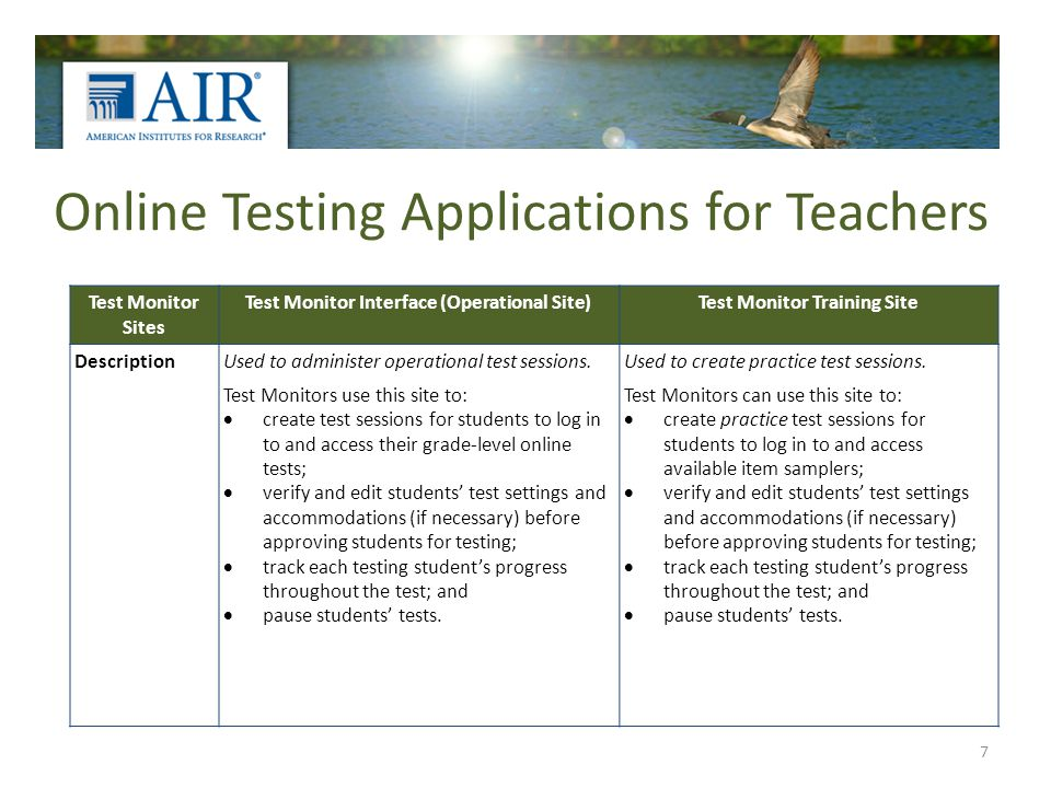 Online Testing Applications for Teachers 7 Test Monitor Sites Test Monitor Interface (Operational Site)Test Monitor Training Site DescriptionUsed to administer operational test sessions.