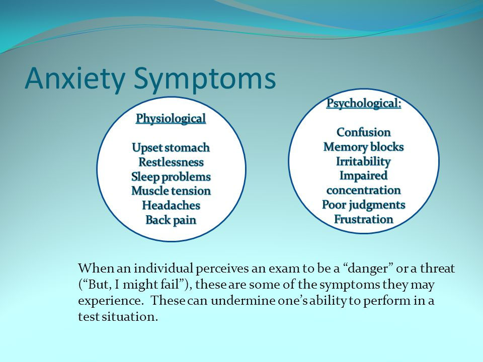 Anxiety Symptoms When an individual perceives an exam to be a danger or a threat (But, I might fail), these are some of the symptoms they may experien