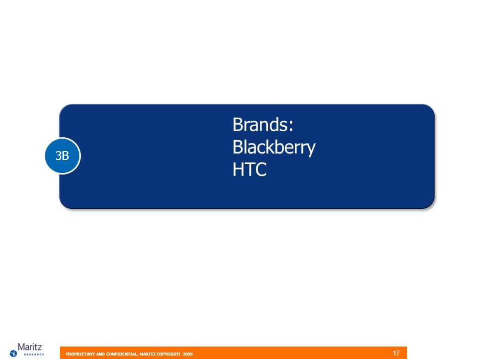 PROPRIETARY AND CONFIDENTIAL, MARITZ COPYRIGHT 2009 17 3B Brands: Blackberry HTC