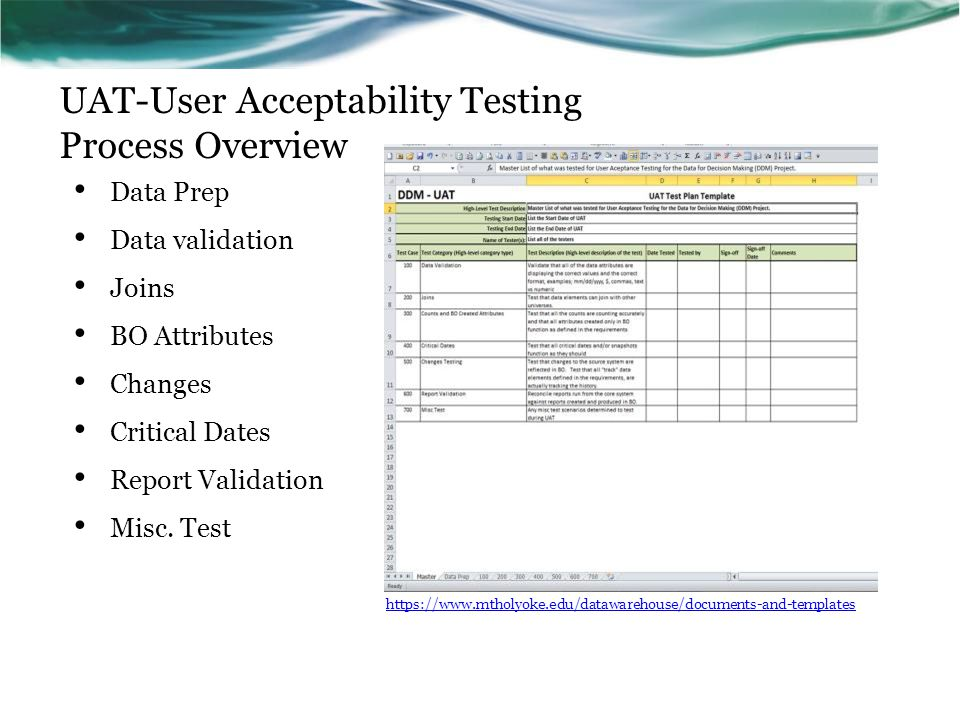 UAT-User Acceptability Testing Process Overview Data Prep Data validation Joins BO Attributes Changes Critical Dates Report Validation Misc.