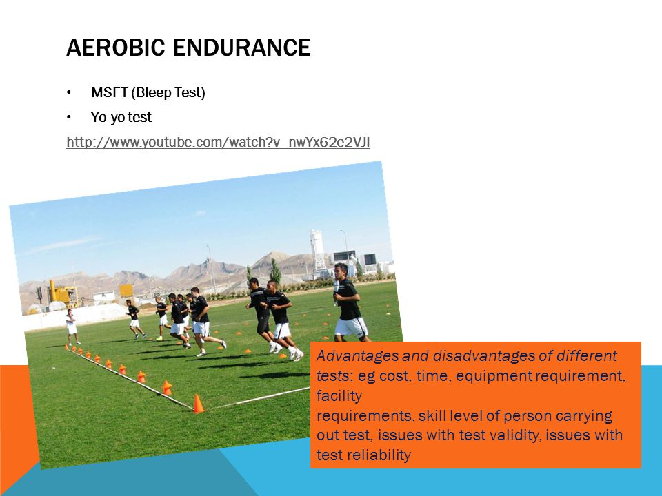 AEROBIC ENDURANCE MSFT (Bleep Test) Yo-yo test http://www.youtube.com/watch?v=nwYx62e2VJI Advantages and disadvantages of different tests: eg cost, ti