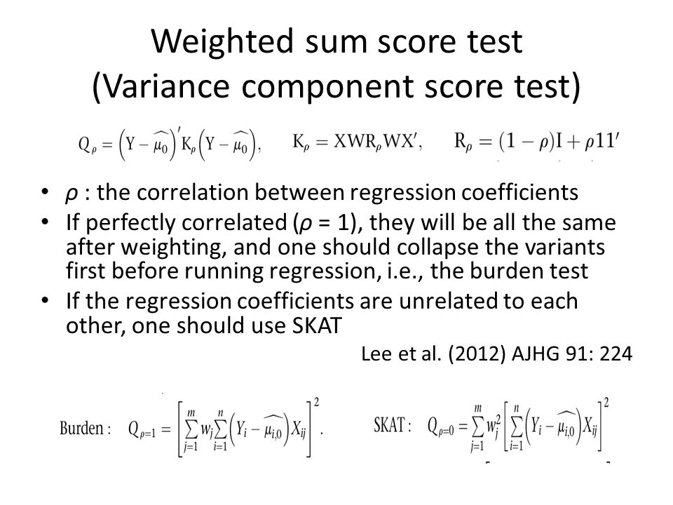 Weighted sum score test (Variance component score test) ρ : the correlation between regression coefficients If perfectly correlated (ρ = 1), they will be all the same after weighting, and one should collapse the variants first before running regression, i.e., the burden test If the regression coefficients are unrelated to each other, one should use SKAT Lee et al.