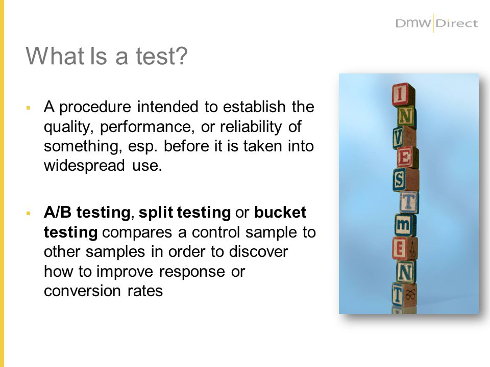 What Is NOT a Test?
