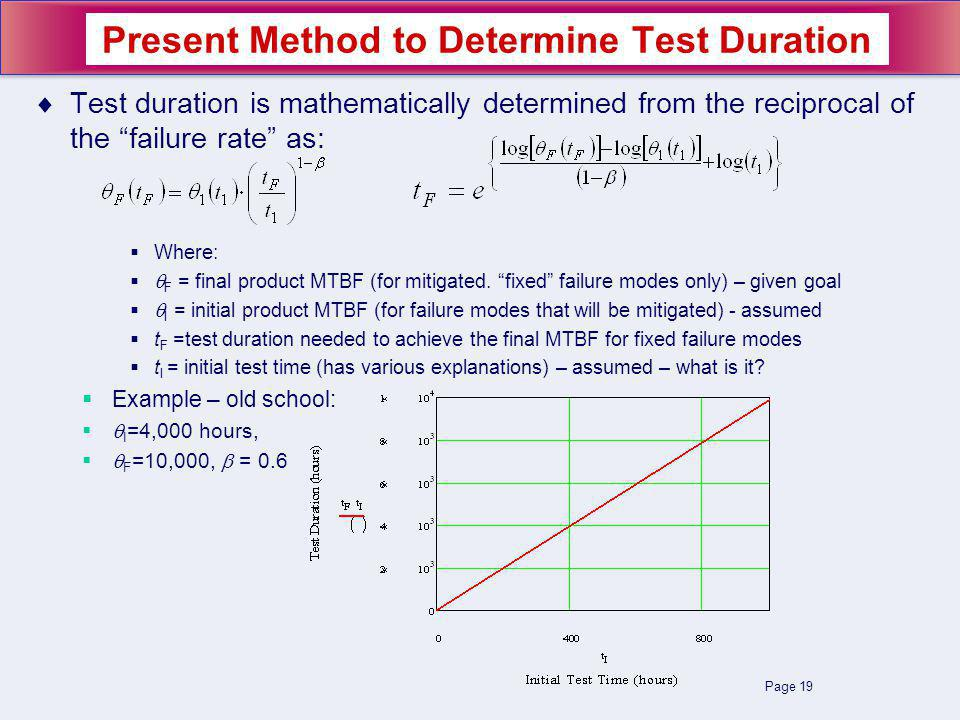 Page 19 Test duration is mathematically determined from the reciprocal of the failure rate as: Where: F = final product MTBF (for mitigated. fixed fai
