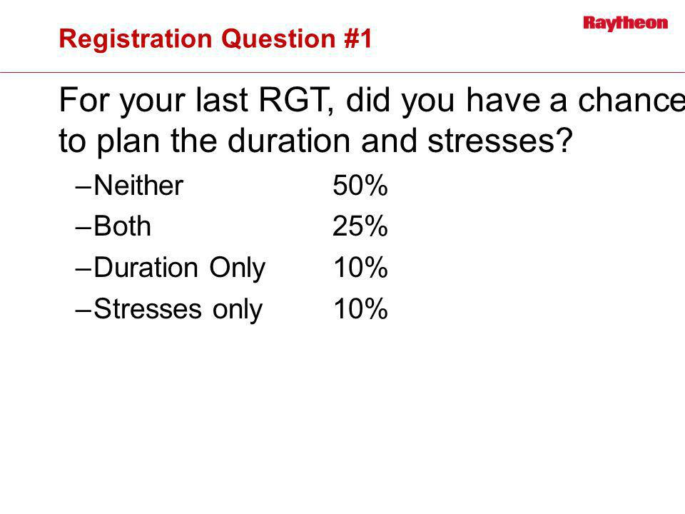 Registration Question #1 For your last RGT, did you have a chance to plan the duration and stresses? –Neither50% –Both25% –Duration Only10% –Stresses