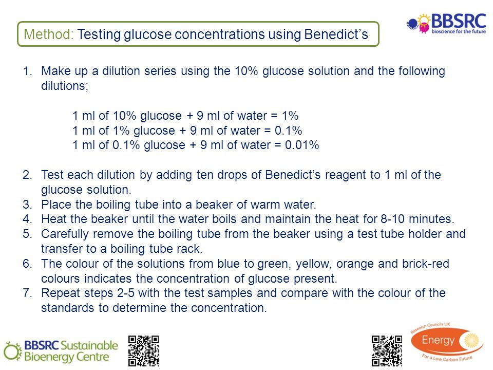 Method: Testing glucose concentrations using Benedicts 1.Make up a dilution series using the 10% glucose solution and the following dilutions; 1 ml of 10% glucose + 9 ml of water = 1% 1 ml of 1% glucose + 9 ml of water = 0.1% 1 ml of 0.1% glucose + 9 ml of water = 0.01% 2.Test each dilution by adding ten drops of Benedicts reagent to 1 ml of the glucose solution.