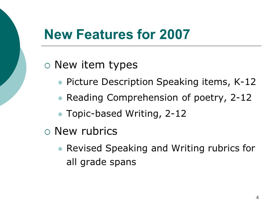 5 New Item Types Formats of new Speaking item type: What is happening in the picture, and what will happen next.