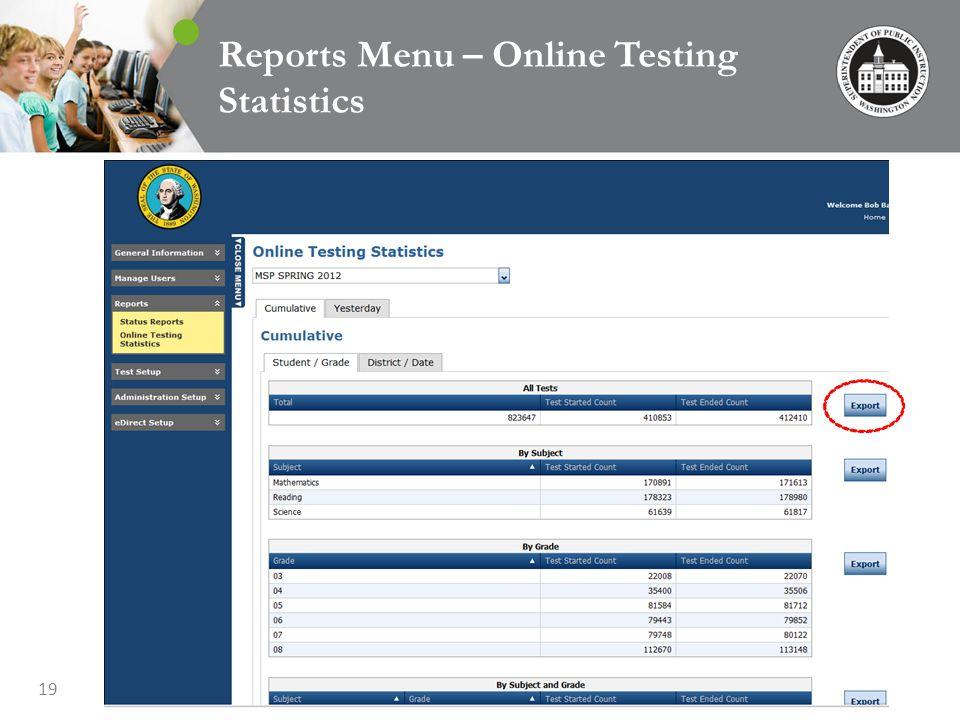 19 Reports Menu – Online Testing Statistics