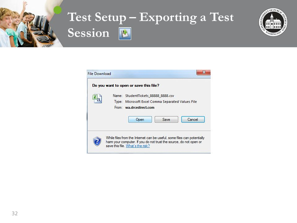 32 Test Setup – Exporting a Test Session
