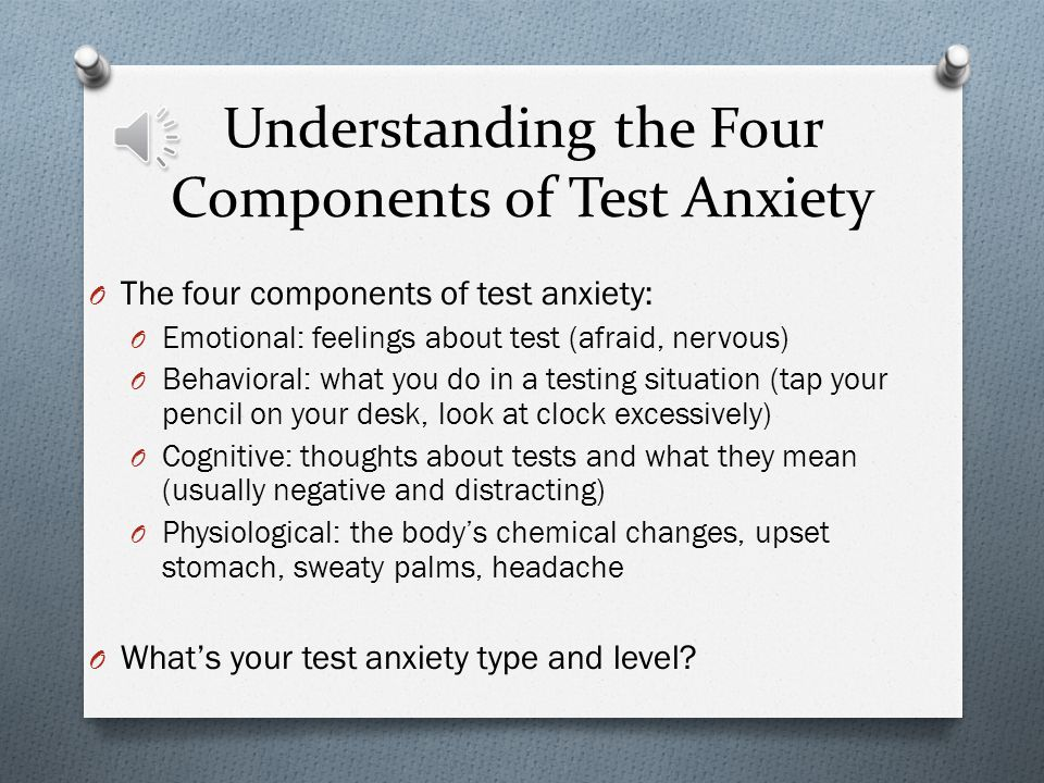 O What is test anxiety? O Test anxiety is an uneasiness or apprehension experienced about tests due to concern, worry, or fear.