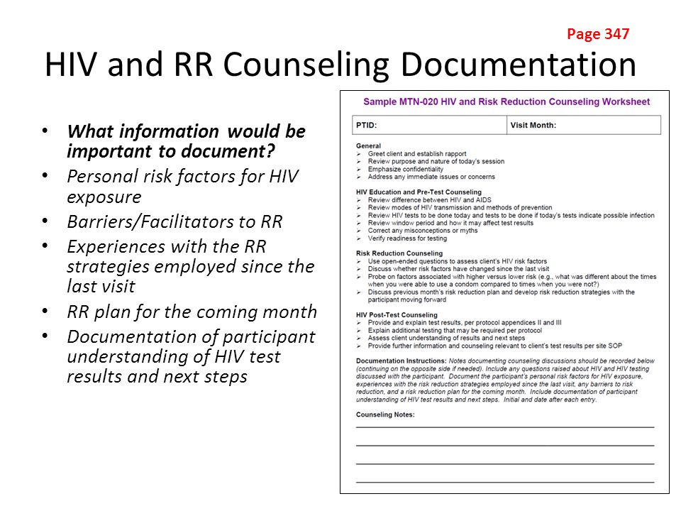 HIV and RR Counseling Documentation What information would be important to document.