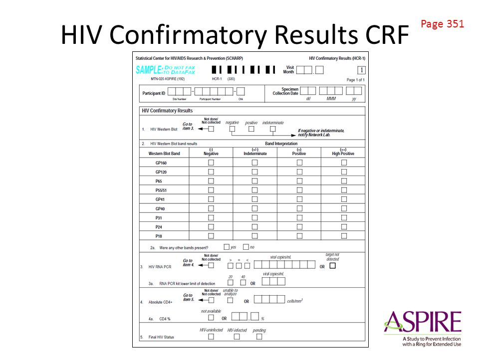 HIV Confirmatory Results CRF Page 351