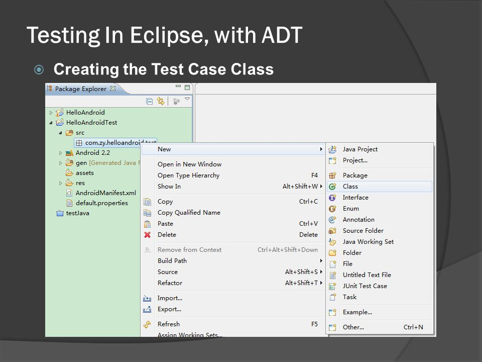 Creating the Test Case Class