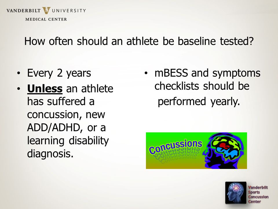 How often should an athlete be baseline tested.