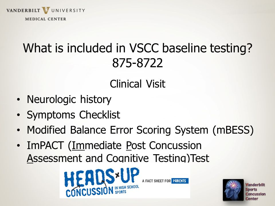 What is included in VSCC baseline testing.