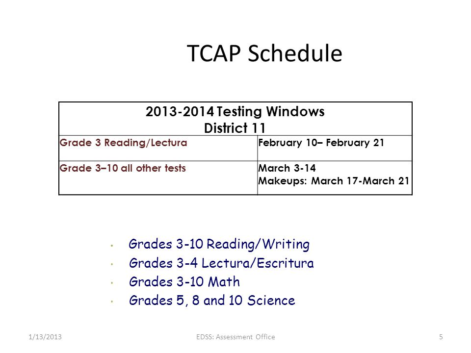 TCAP Schedule 2013-2014 Testing Windows District 11 Grade 3 Reading/Lectura February 10– February 21 Grade 3–10 all other testsMarch 3-14 Makeups: Mar