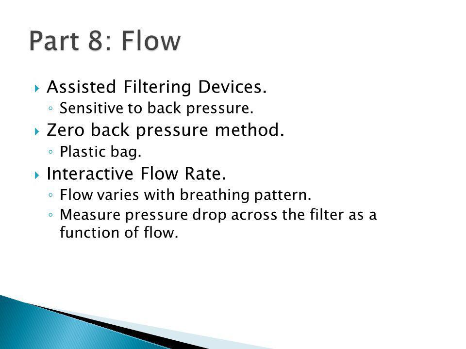 Assisted Filtering Devices. Sensitive to back pressure.