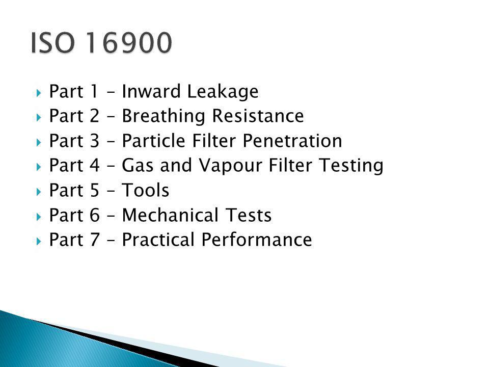 Part 1 – Inward Leakage Part 2 – Breathing Resistance Part 3 – Particle Filter Penetration Part 4 – Gas and Vapour Filter Testing Part 5 – Tools Part 6 – Mechanical Tests Part 7 – Practical Performance