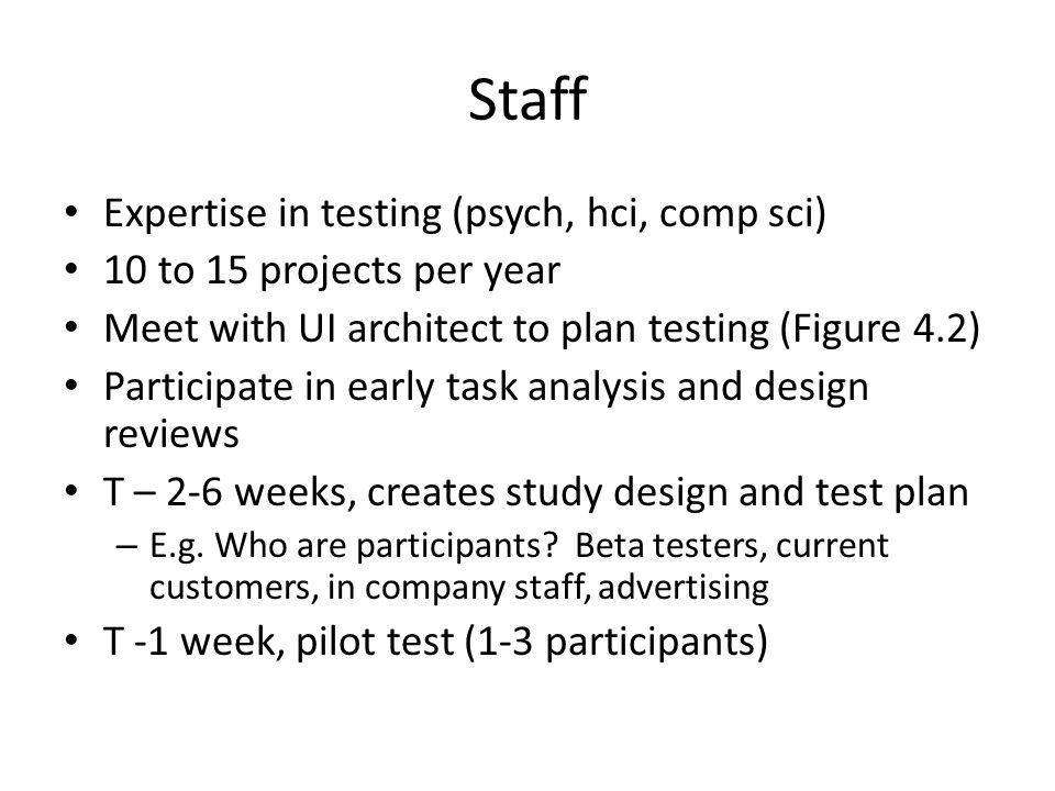 Staff Expertise in testing (psych, hci, comp sci) 10 to 15 projects per year Meet with UI architect to plan testing (Figure 4.2) Participate in early task analysis and design reviews T – 2-6 weeks, creates study design and test plan – E.g.