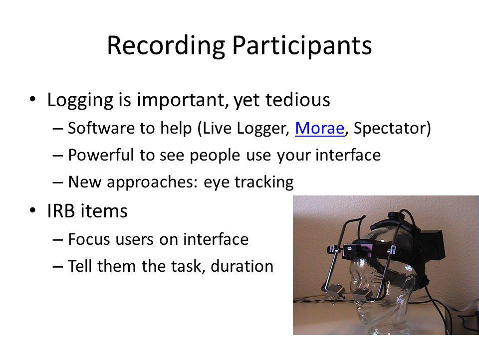 Recording Participants Logging is important, yet tedious – Software to help (Live Logger, Morae, Spectator)Morae – Powerful to see people use your interface – New approaches: eye tracking IRB items – Focus users on interface – Tell them the task, duration