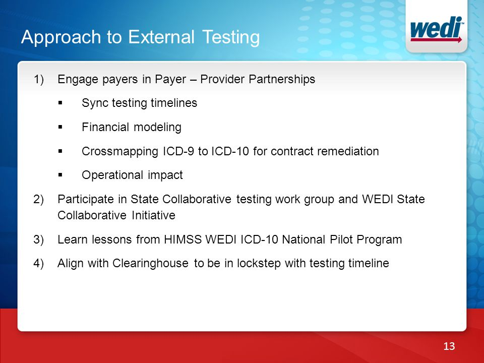1)Engage payers in Payer – Provider Partnerships Sync testing timelines Financial modeling Crossmapping ICD-9 to ICD-10 for contract remediation Opera