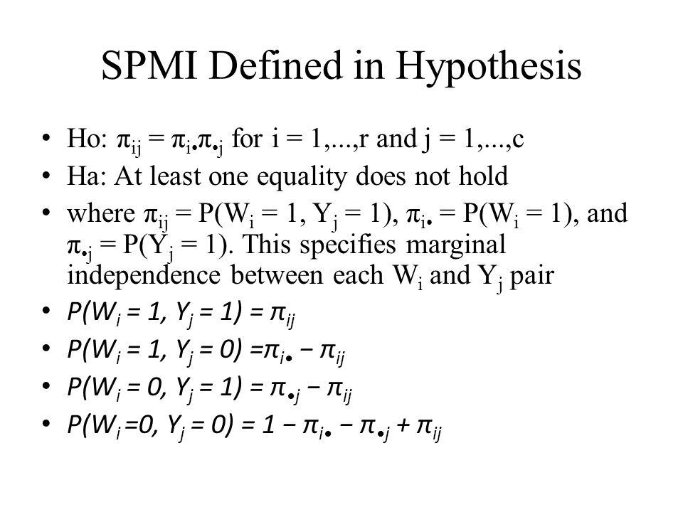 SPMI Defined in Hypothesis Ho: π ij = π i π j for i = 1,...,r and j = 1,...,c Ha: At least one equality does not hold where π ij = P(W i = 1, Y j = 1), π i = P(W i = 1), and π j = P(Y j = 1).