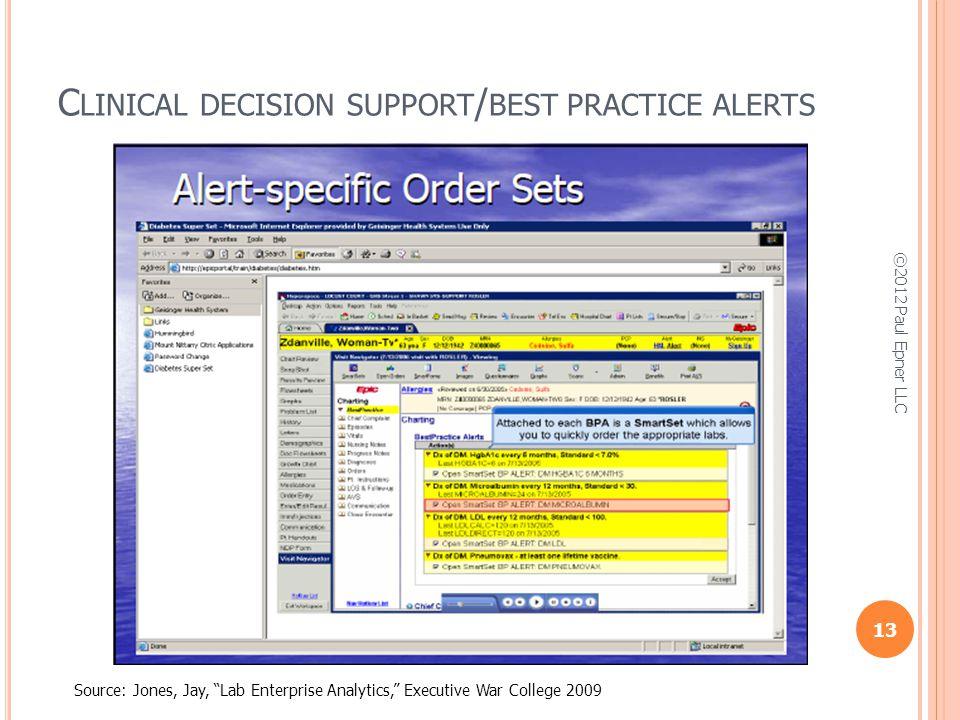 C LINICAL DECISION SUPPORT / BEST PRACTICE ALERTS Source: Jones, Jay, Lab Enterprise Analytics, Executive War College 2009 13 ©2012 Paul Epner LLC