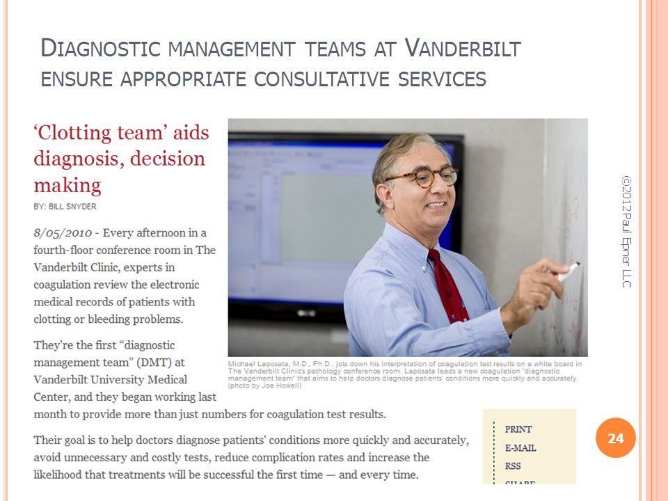 D IAGNOSTIC MANAGEMENT TEAMS AT V ANDERBILT ENSURE APPROPRIATE CONSULTATIVE SERVICES 24 ©2012 Paul Epner LLC