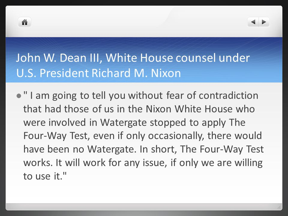 John W. Dean III, White House counsel under U.S. President Richard M. Nixon