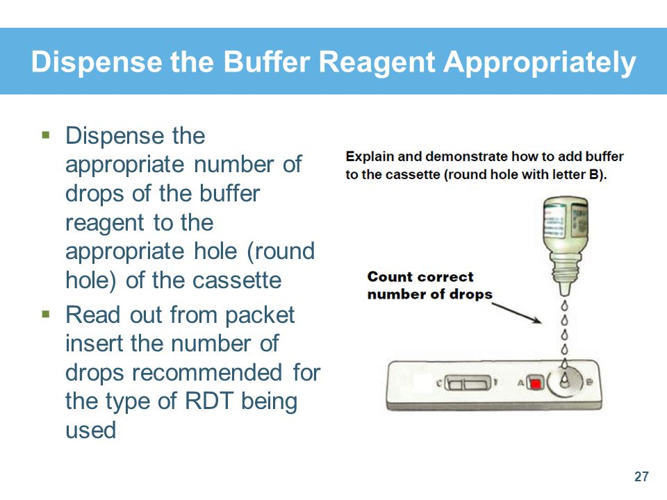 Dispense the Buffer Reagent Appropriately Dispense the appropriate number of drops of the buffer reagent to the appropriate hole (round hole) of the c