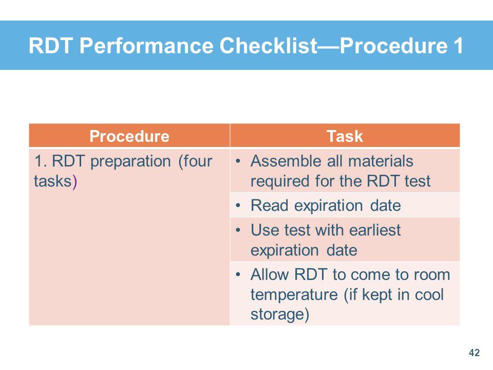 RDT Performance ChecklistProcedure 1 42 ProcedureTask 1. RDT preparation (four tasks) Assemble all materials required for the RDT test Read expiration