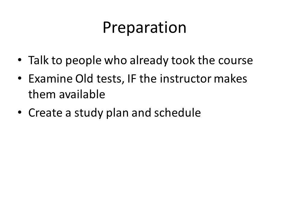 Preparation READ WRITE REVIEW RECITE