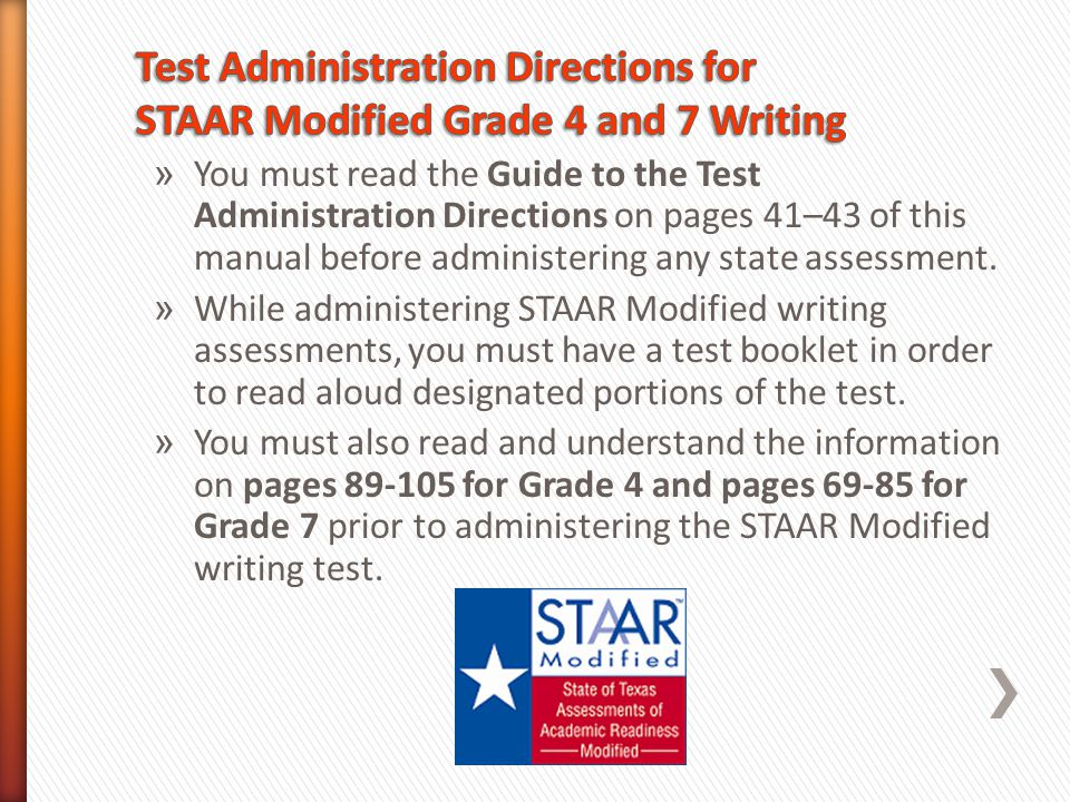 » You must read the Guide to the Test Administration Directions on pages 41–43 of this manual before administering any state assessment. » While admin
