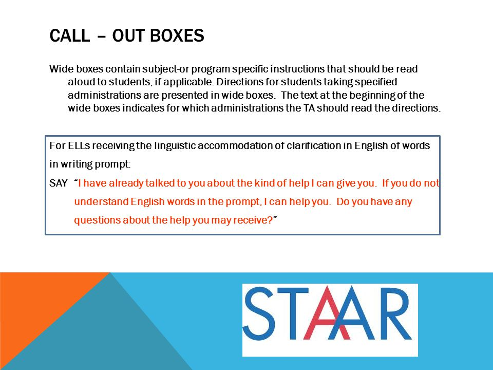 STAAR Modified Speaker icon indicates what to read aloud pre-reading text.